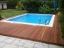 Tarasy drewniane - taras bangkirai przy basenie